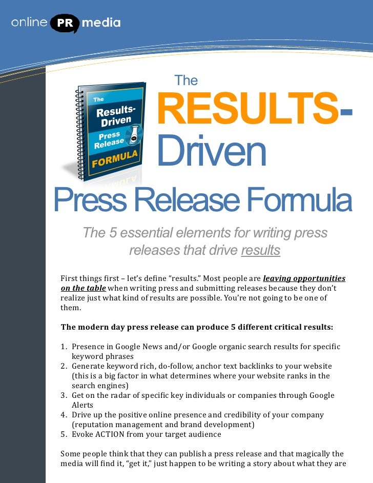 The                                            RESULTS-                                            DrivenPress Release For...