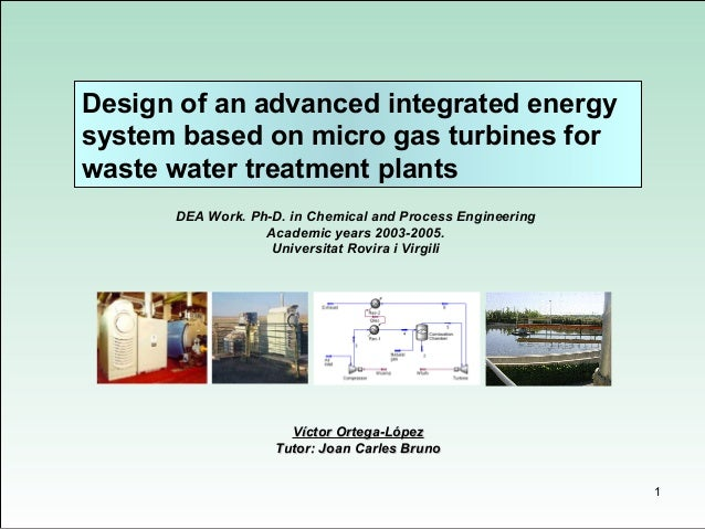 Design of an advanced integrated energysystem based on micro gas turbines forwaste water treatment plants      DEA Work. P...