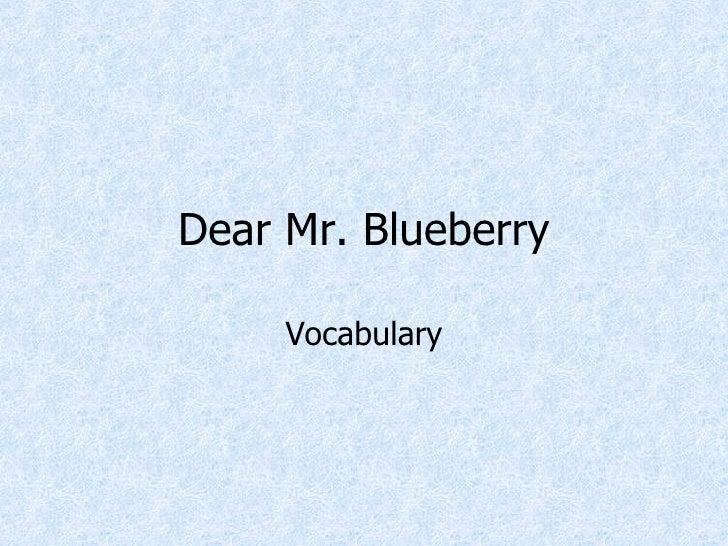 Dear Mr. Blueberry Vocab