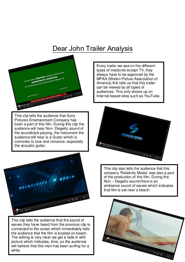 Dear John Trailer Analysis                                                    Every trailer we see on the different       ...