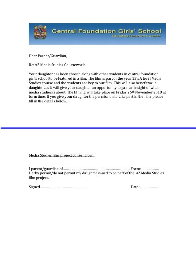 Sample Letter Students Consent Form