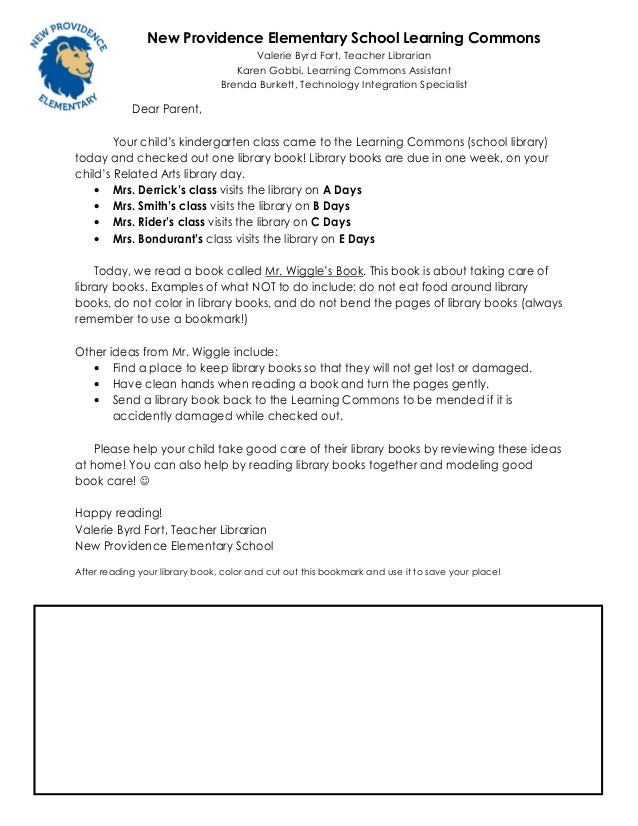 Kindergarten letter for first checkout 2013 - 2014