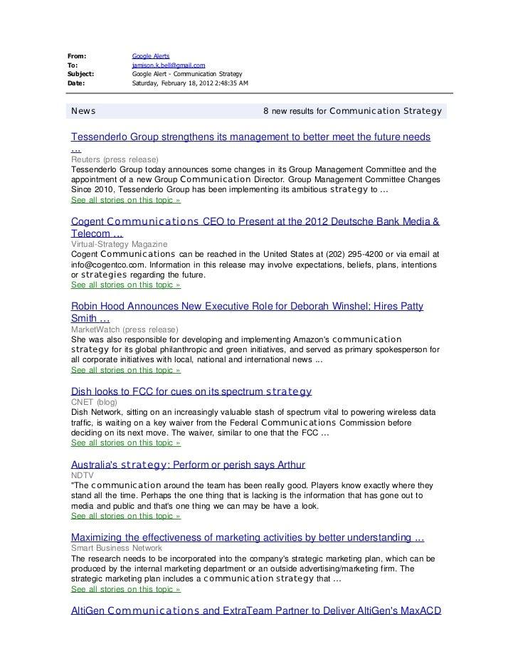 From:               Google AlertsTo:                 jamison.k.bell@gmail.comSubject:            Google Alert - Communicat...