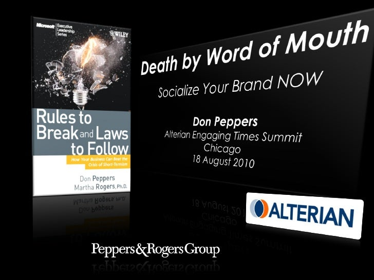 Death by Word-of-Mouth: Socialize Your Brand NOW
