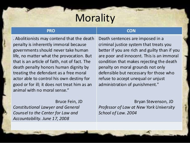 essay on the death penalty with pros and cons Pros and cons of the death penalty the death penalty is a legal process whereby a person is put to death as a punishment for a crime the death penalties.