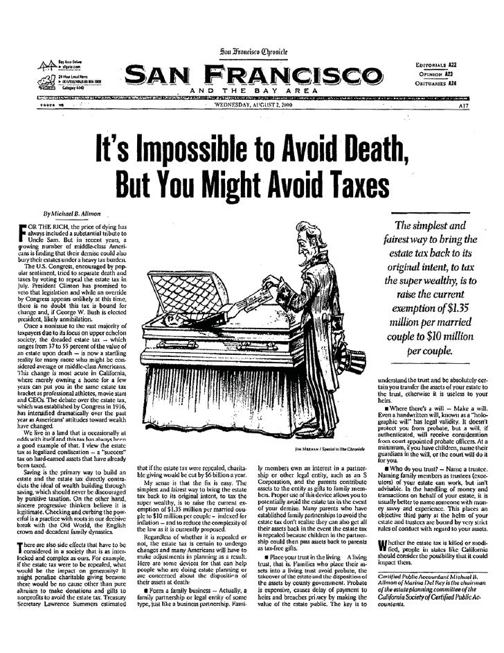 It's Impossible to Avoid Death, But You Might Avoid Taxes