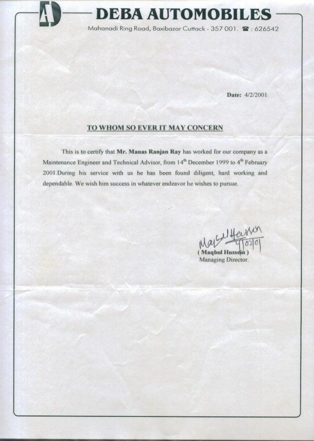 deba automobile work certificate