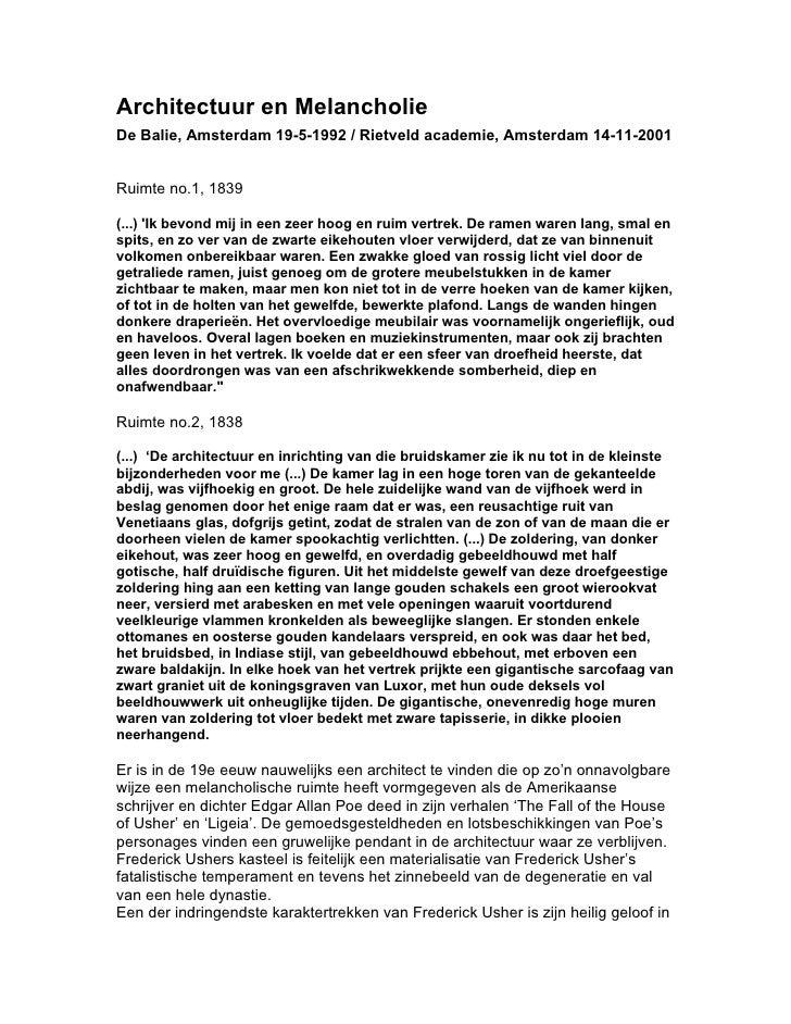 De Balie Amsterdam: lecture Architectuur En Melancholie - May1992-November2001
