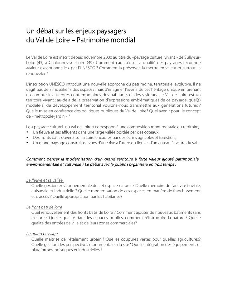 Un débat sur les enjeux paysagers du Val de Loire – Patrimoine mondial  Le Val de Loire est inscrit depuis novembre 2000 a...