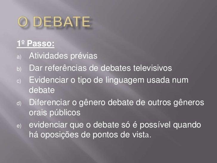 1º Passo:a) Atividades préviasb) Dar referências de debates televisivosc) Evidenciar o tipo de linguagem usada num   debat...