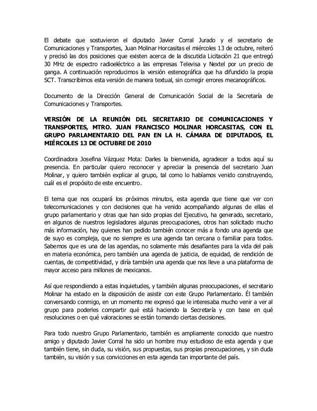 El debate que sostuvieron el diputado Javier Corral Jurado y el secretario de Comunicaciones y Transportes, Juan Molinar H...