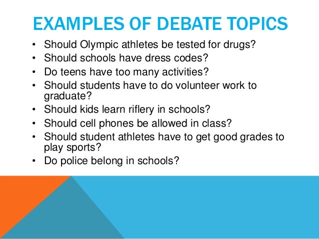 good topics for debate in college