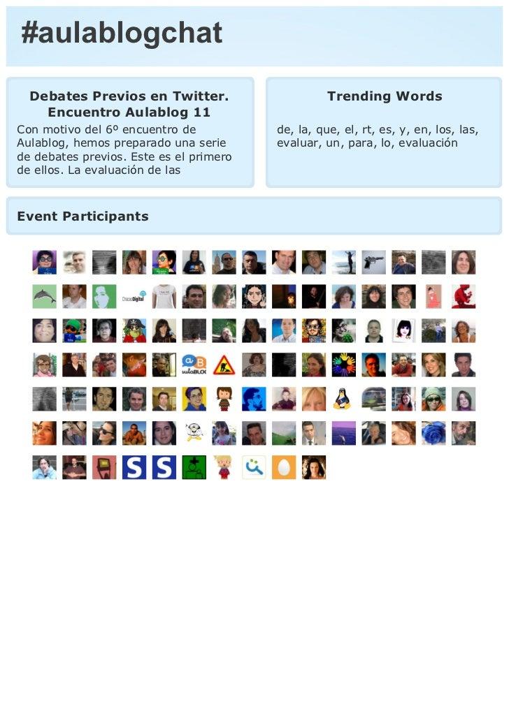 #aulablogchat  Debates Previos en Twitter.                      Trending Words    Encuentro Aulablog 11Con motivo del 6º e...