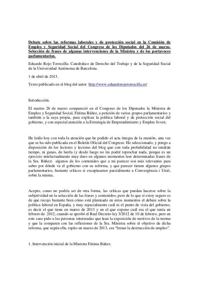 Debate sobre las reformas laborales y de protección social en la Comisión deEmpleo y Seguridad Social del Congreso de los ...