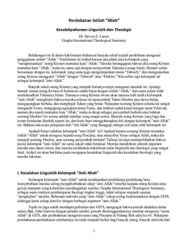 "Perdebatan Istilah ""Allah"" Kesalahpahaman Linguistik dan Theologis Dr. Steven E. Liauw Graphe International Theological Se..."