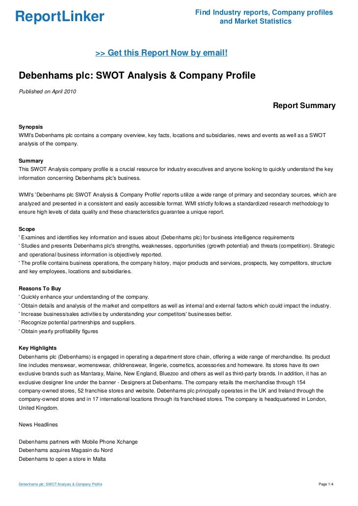 company profile and swot analysis on If you are looking for specific information about a company such as swot analysis, use the tabs at the top of the guide select the global company profile report.