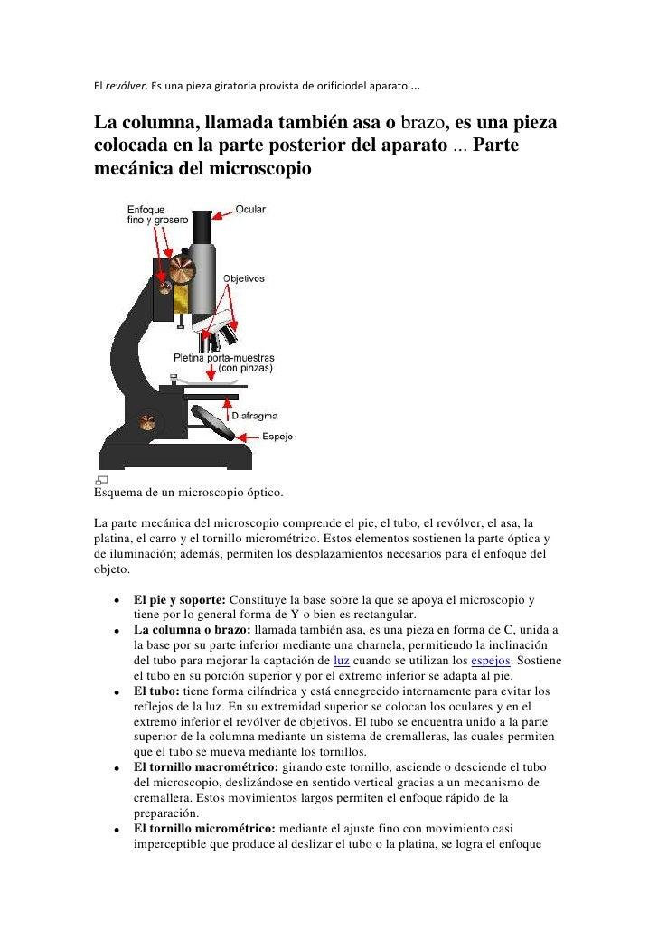 El revólver. Es una pieza giratoria provista de orificiodel aparato ... <br />La columna, llamada también asa o brazo, es ...