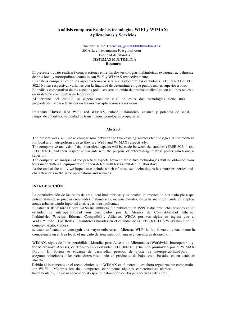 Análisis comparativo de las tecnologías WIFI y WIMAX;                               Aplicaciones y Servicios              ...