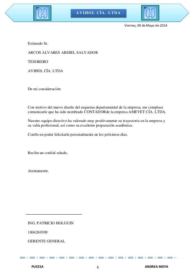 AVIHOL CÍA. LTDA PUCESA ANDREA MOYA1 Viernes, 09 de Mayo de 2014 Estimado Sr. ARCOS ALVARES ABDIEL SALVADOR TESORERO AVIHO...