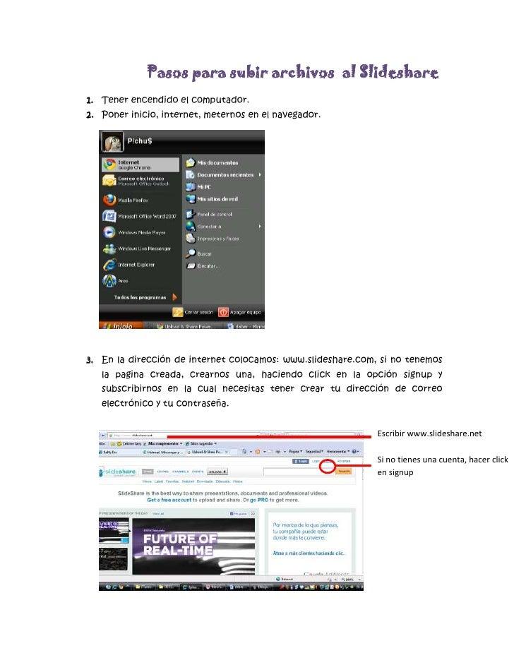 Pasos para subir documentos o videos en slideshare