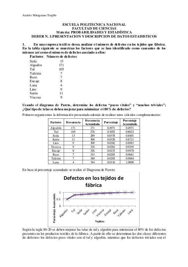Andrés Miniguano Trujillo ESCUELA POLITECNICA NACIONAL FACULTAD DE CIENCIAS Materia: PROBABILIDADES Y ESTADÍSTICA DEBER N....