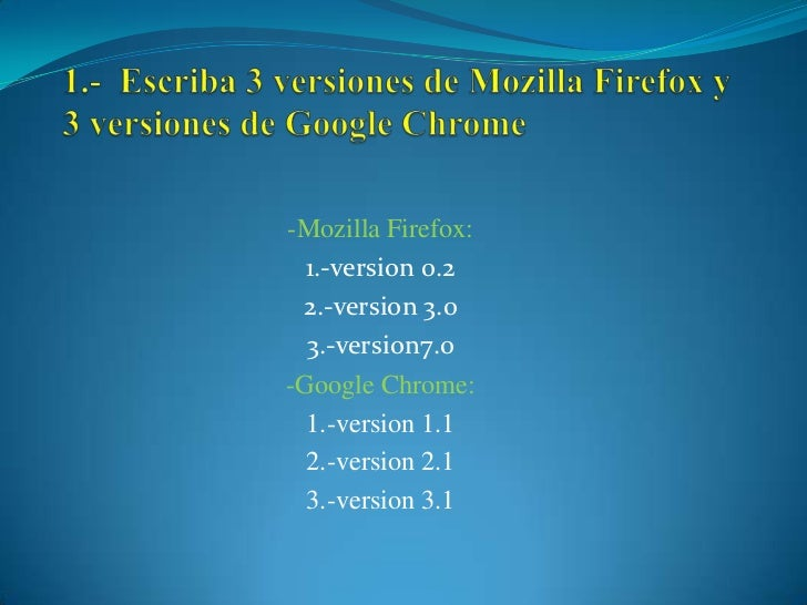 -Mozilla Firefox:  1.-version 0.2 2.-version 3.0  3.-version7.0-Google Chrome:  1.-version 1.1  2.-version 2.1  3.-version...