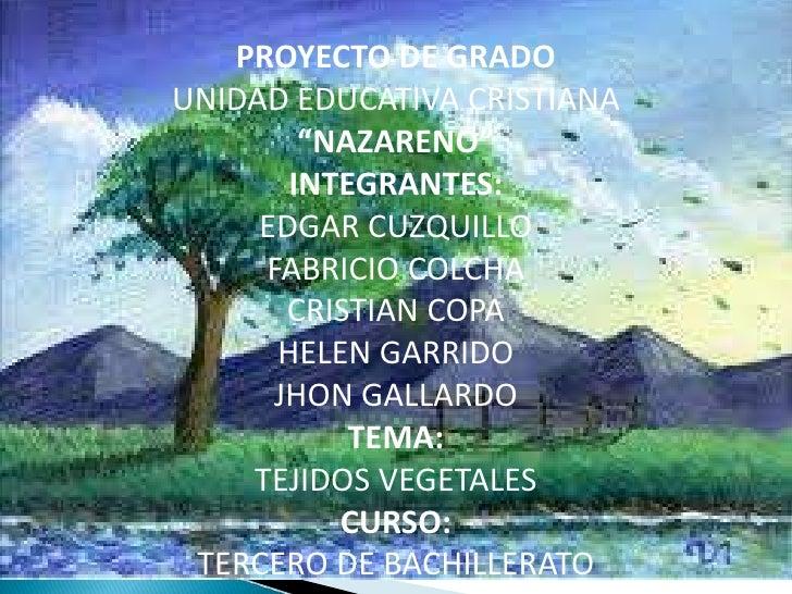 """PROYECTO DE GRADOUNIDAD EDUCATIVA CRISTIANA        """"NAZARENO""""       INTEGRANTES:     EDGAR CUZQUILLO     FABRICIO COLCHA  ..."""