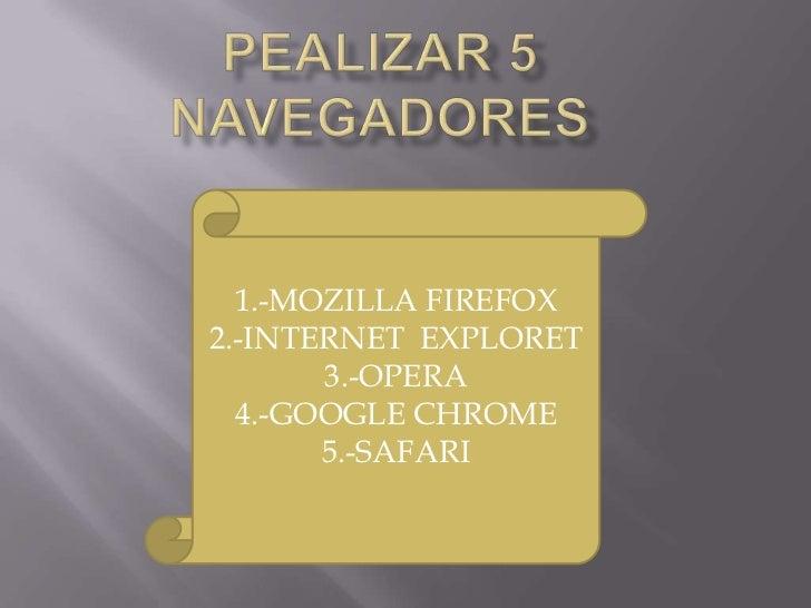 1.-MOZILLA FIREFOX2.-INTERNET EXPLORET       3.-OPERA  4.-GOOGLE CHROME       5.-SAFARI