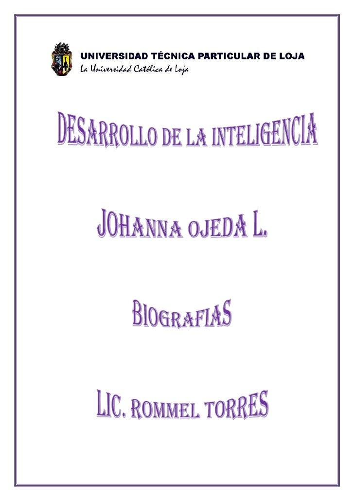 DEBER DE DESARROLLO DE LA INTELIGENCIA Y LIDERAZGO<br />NOMBRE: Johanna Katiusca Ojeda Luzuriaga.<br />FECHA: 2009-12-21<b...
