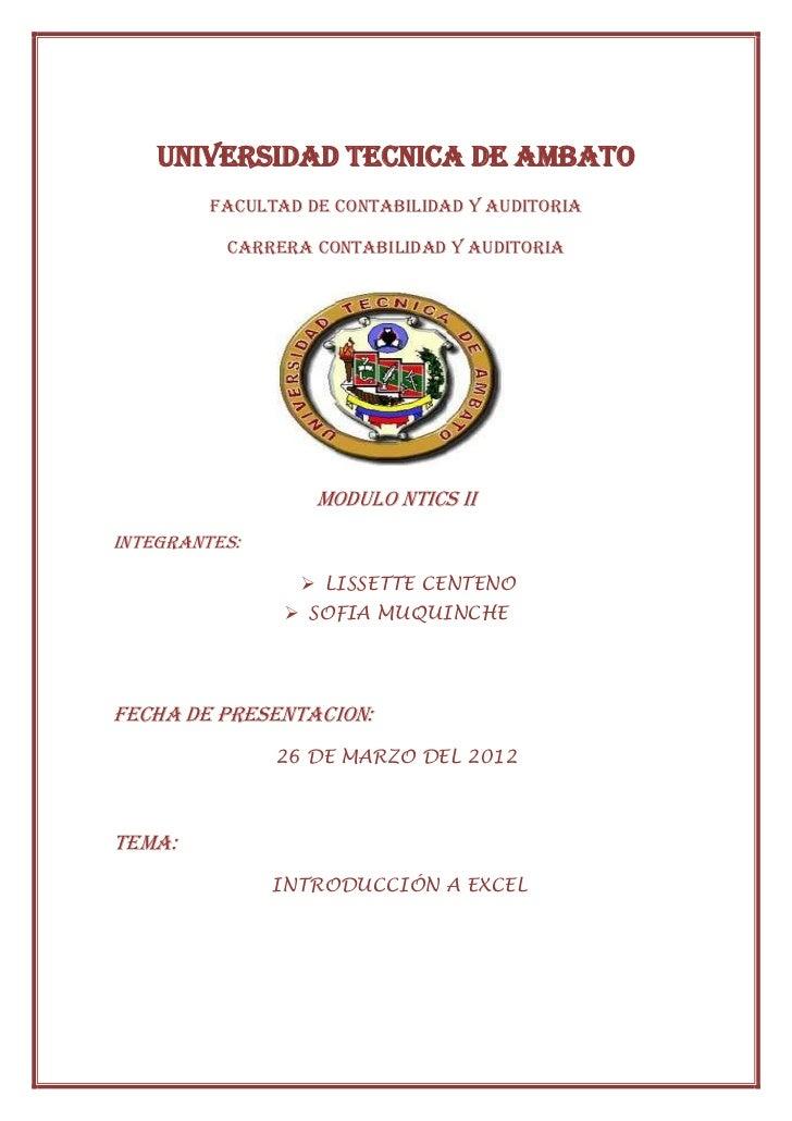 UNIVERSIDAD TECNICA DE AMBATO         FACULTAD DE CONTABILIDAD Y AUDITORIA          CARRERA CONTABILIDAD Y AUDITORIA      ...