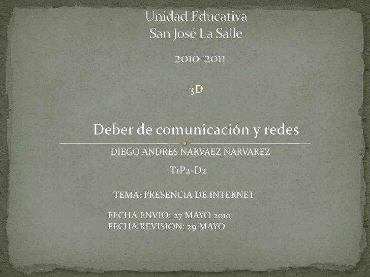 Unidad Educativa San José La Salle     2010-2011<br />3D<br />Deber de comunicación y redes<br />DIEGO ANDRES NARVAEZ NAR...