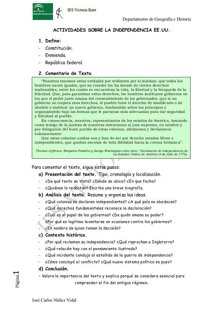 Departamento de Geografía e Historia                       ACTIVIDADES SOBRE LA INDEPENDENCIA EE.UU.             1. Define...