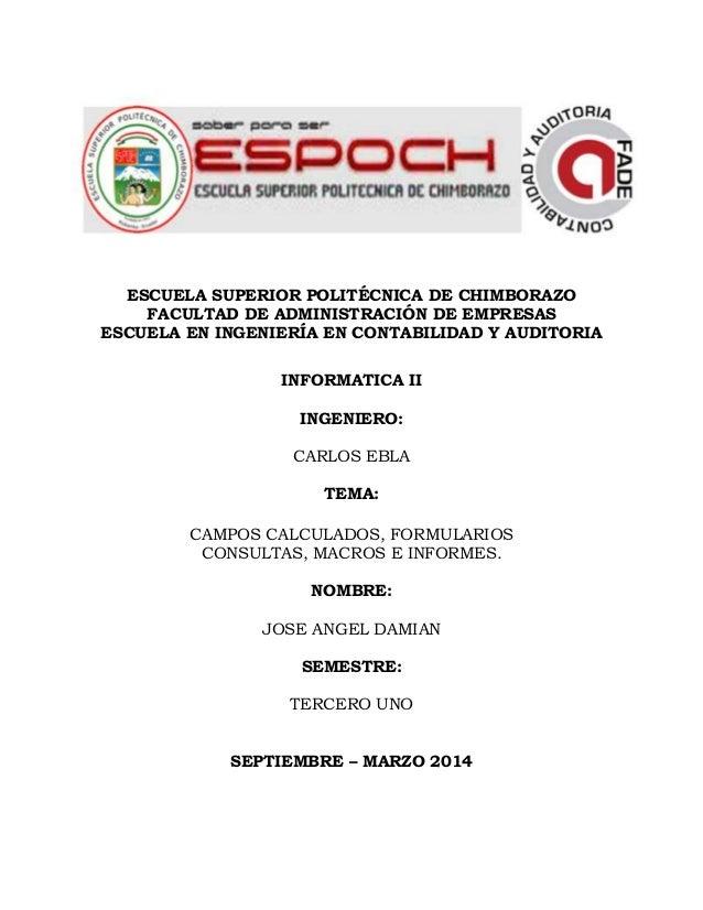 ESCUELA SUPERIOR POLITÉCNICA DE CHIMBORAZO FACULTAD DE ADMINISTRACIÓN DE EMPRESAS ESCUELA EN INGENIERÍA EN CONTABILIDAD Y ...