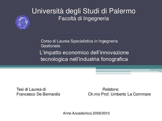 Università degli Studi di Palermo                     Facoltà di Ingegneria            Corso di Laurea Specialistica in In...