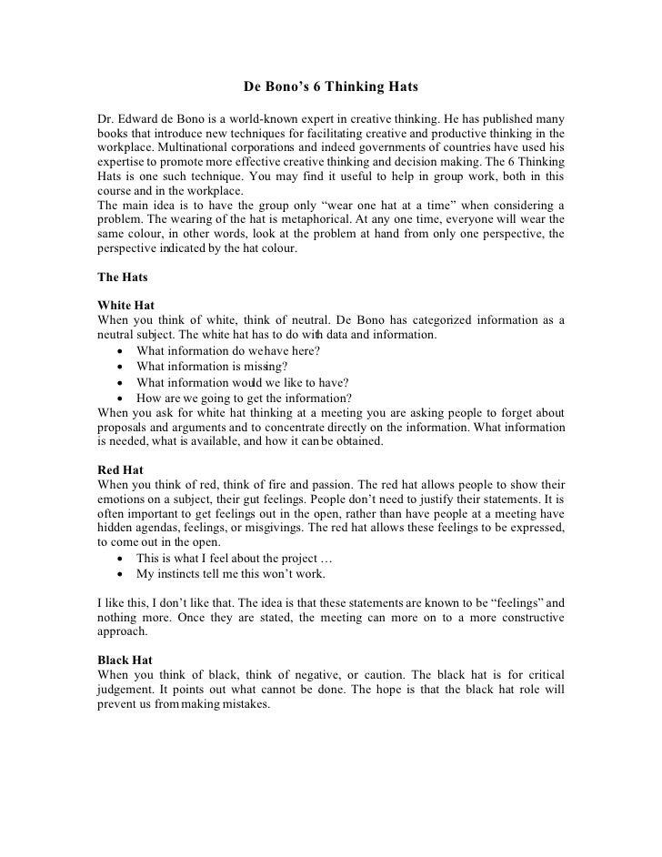 De Bono S 6 Thinking Hats%5 B2%5 D[1]