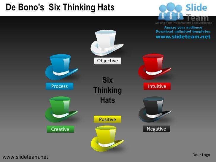 De bonos six thinking hats powerpoint presentation slides.