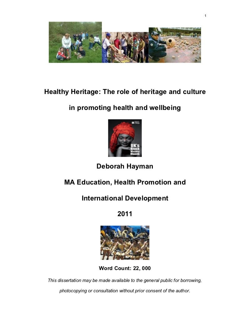1Healthy Heritage: The role of heritage and culture           in promoting health and wellbeing                         De...