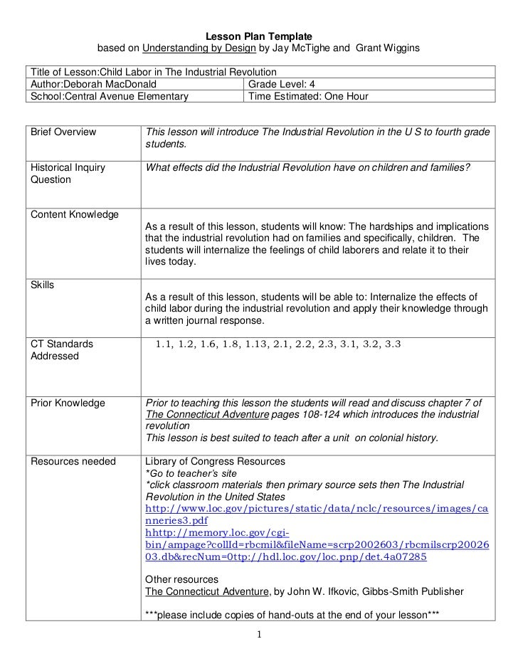 Lesson Plan Template <br />based on Understanding by Design by Jay McTighe and  Grant Wiggins<br />Title of Lesson:Child L...