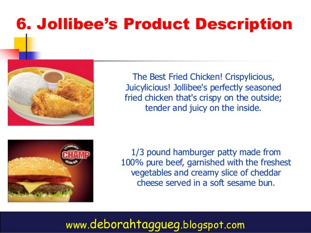 marketing mix of jollibee Are: the tropical hut hamburger or tropical hut foodmart jollibee foods corporation mcdonalds or mcgeorge food industries , inc product, pricing, place and the promotion strategies into a marketing program the fast go, josiah, marketing mix strategy in the philippines setting, (metro manila,.