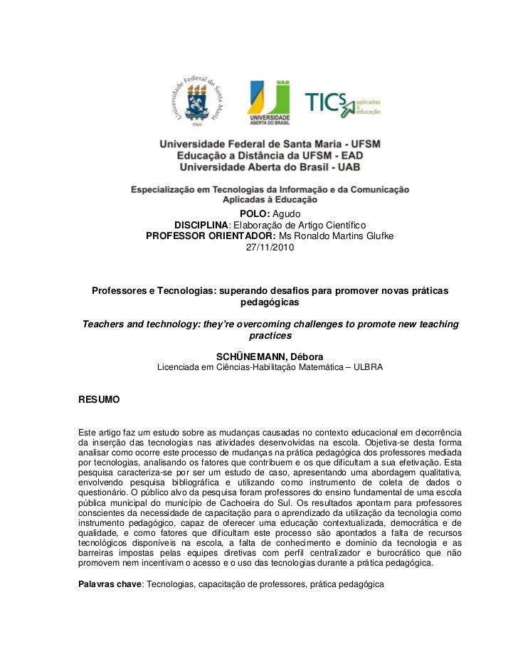 POLO: Agudo                    DISCIPLINA: Elaboração de Artigo Científico                PROFESSOR ORIENTADOR: Ms Ronaldo...