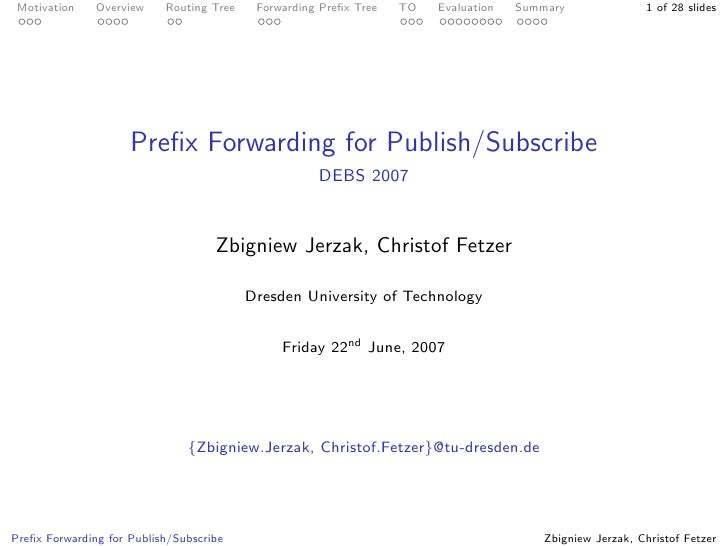 Prefix Forwarding for Publish/Subscribe