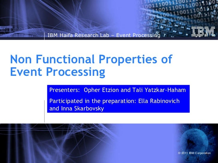 Non Functional Properties of Event Processing Presenters:  Opher Etzion and Tali Yatzkar-Haham Participated in the prepara...