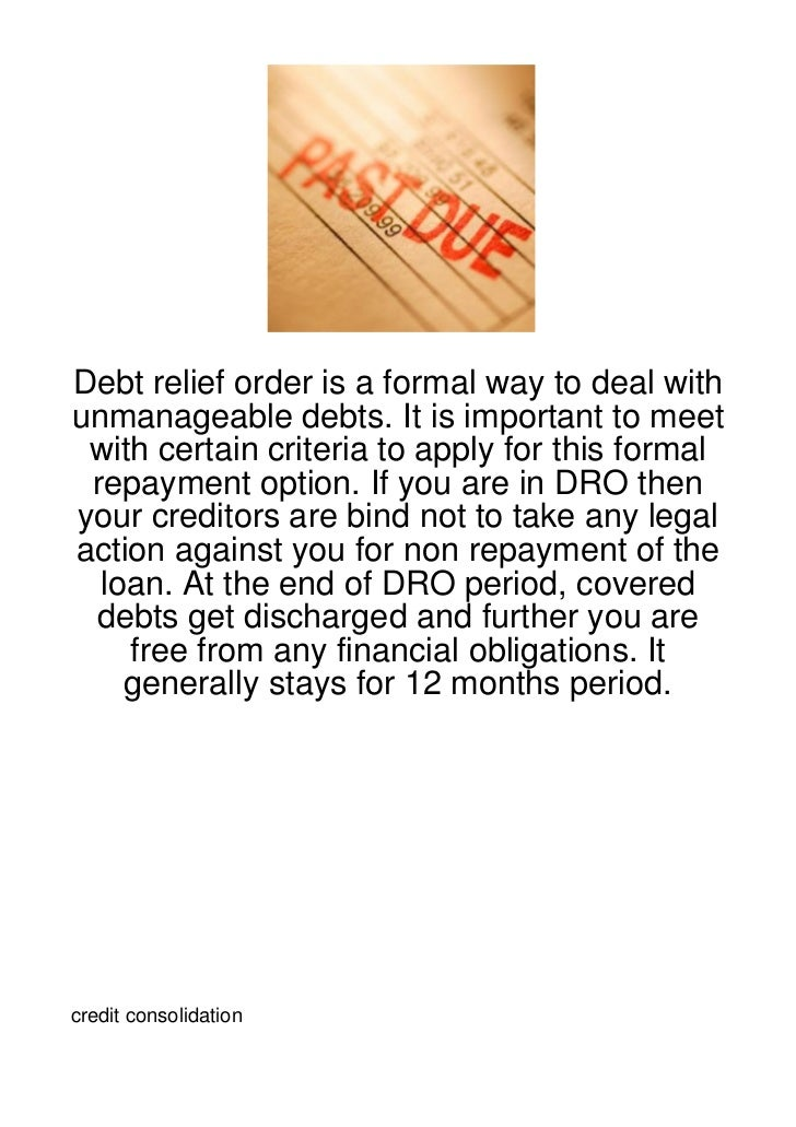 Debt relief order is a formal way to deal withunmanageable debts. It is important to meet with certain criteria to apply f...