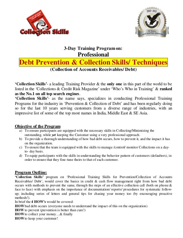 3-Day Training Program on:                                            Professional   Debt Prevention & Collection Skills/ ...