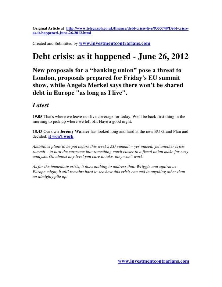Debt crisis as it Happened