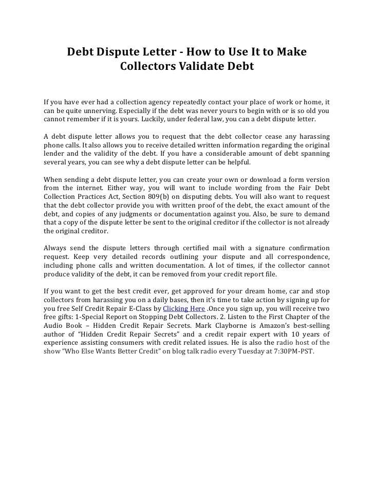 Debt Validation Letter. Debt Validation Discover The Secret Debt ...