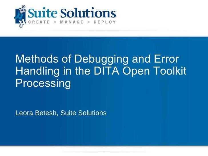 Debugging and Error handling