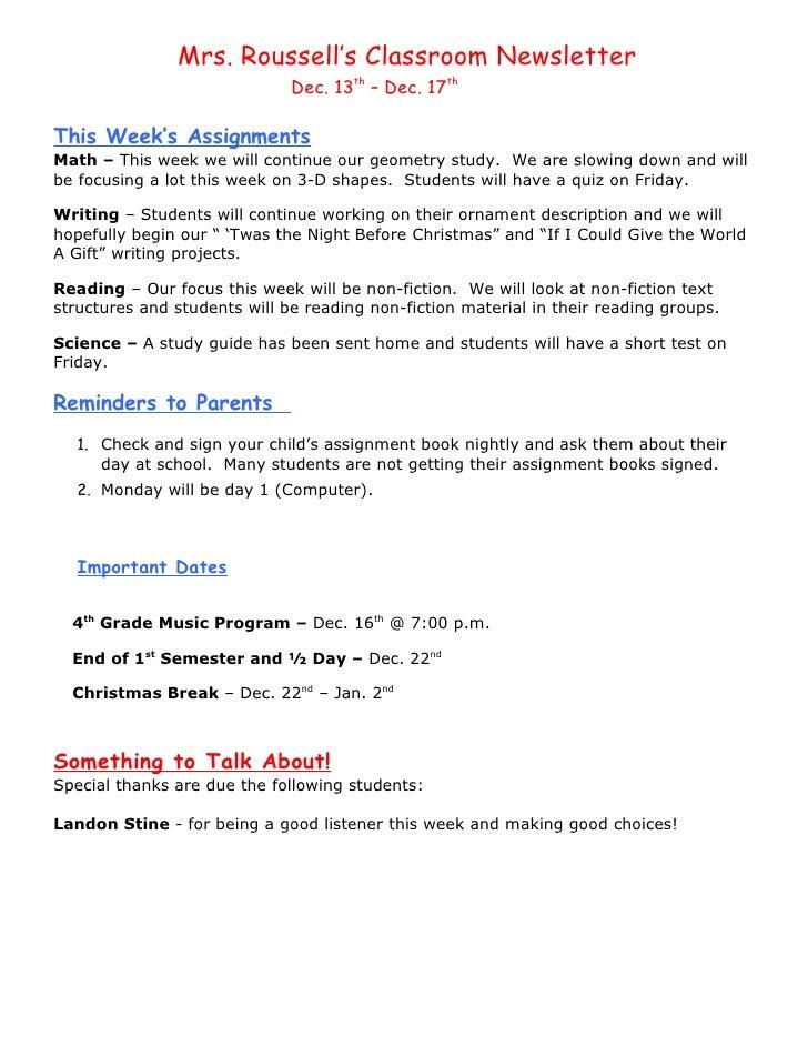 Dec. 13th - Dec. 17th  newsletter