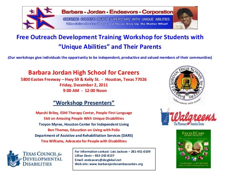 """Free Outreach Development Training Workshop for Students with                  """"Unique Abilities"""" and Their Parents(Our wo..."""