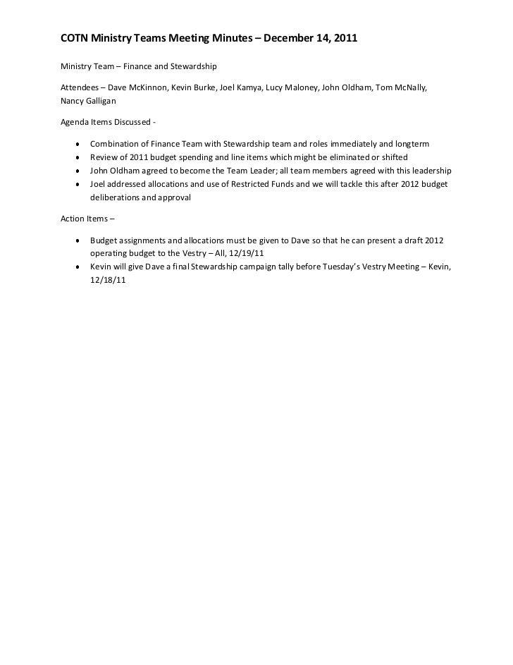 Dec Ministry Teams Minutes
